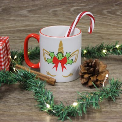 christmas unicorn mug