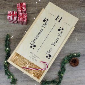 Personalised Christmas Double Wine Box