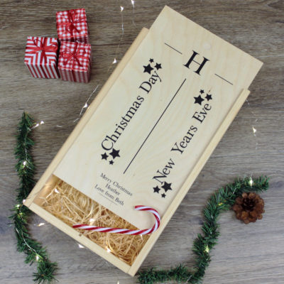 Personalised Christmas Double Wine Box