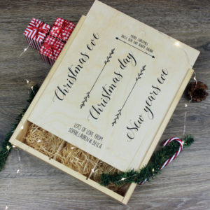 Personalised Christmas Triple Wine Box