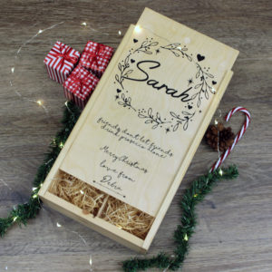 Personalised Christmas Wreath Double Wine Box