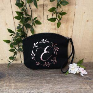 initial wrist bag black