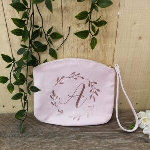 initial wrist bag pink