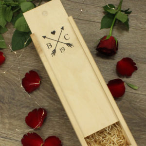personalised initials arrow wine box