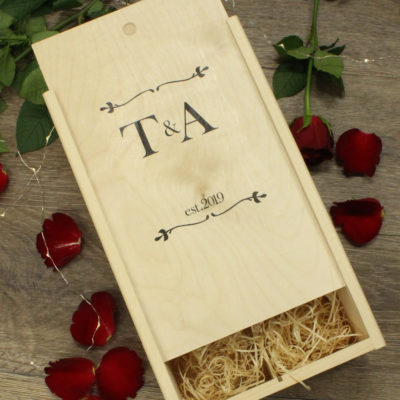 Personalised initials esablished double wine box