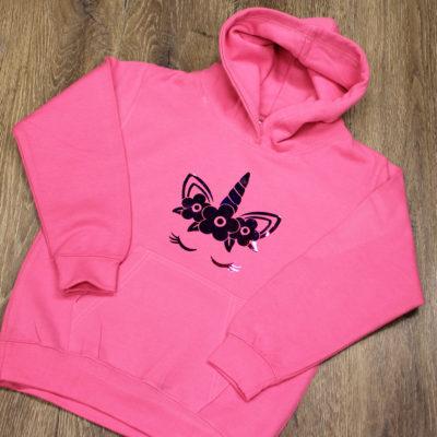Unicorn children's pink hoodie