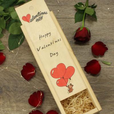 Valentines day heart balloons wine box
