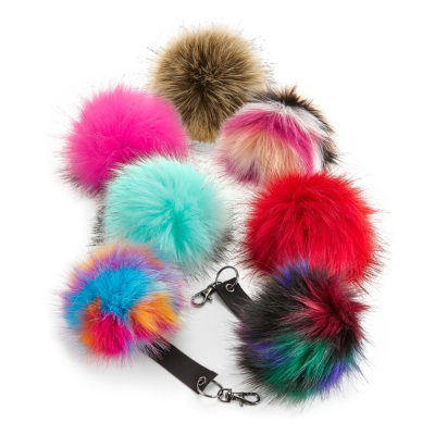 Faux fur pop pom keyring