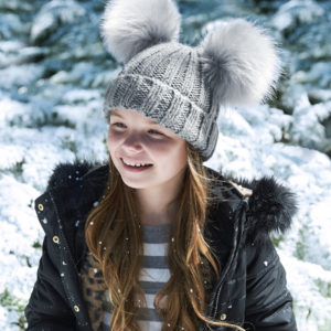 children's faux fur double pom pom