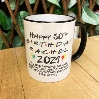 birthday lockdown black trim mug